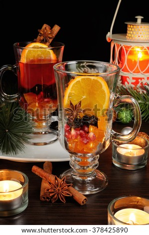 Christmas mulled wine ingredients folded beverage - stock photo