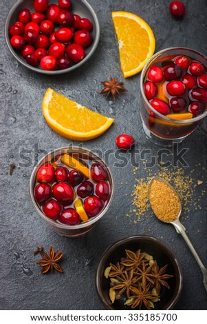 Christmas mulled wine with cranberry and orange, top  view - stock photo
