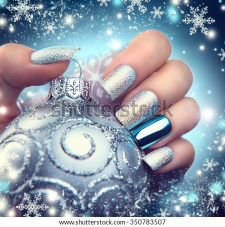 Christmas Model Stock s Royalty Free #1: stock photo christmas nail art manicure winter holiday style bright manicure design christmas decorations and
