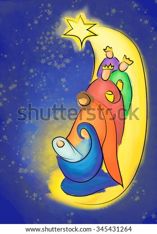 Christmas nativity abstract colorful illustration, Holy family of Mary, Joseph and Jesus, with three kings or wise men - stock photo