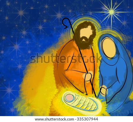 Christmas nativity scene Holy family Mary Joseph and child Jesus in a starry night illustration - stock photo