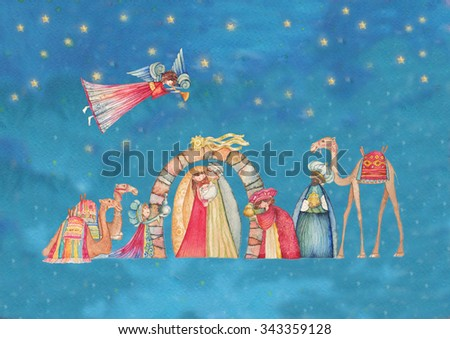 Christmas Nativity scene. Jesus, Mary, Joseph and the Three Wise Men and Angels with trumpet,  - stock photo
