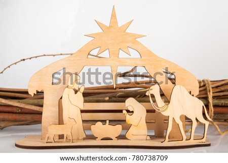 Christmas Nativity Scene Of Baby Jesus In The Manger With Joseph Mary And Shepherds