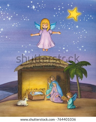 Christmas Nativity Scene Of Baby Jesus In The Manger With Mary And Joseph Surrounded By Animals