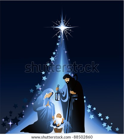 Christmas nativity scene with holy family - stock photo