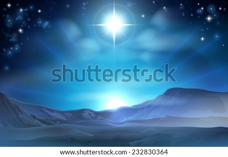 Christmas Nativity Star of Bethlehem illustration of the star over the desert pointing the way to Jesus birth place - stock photo