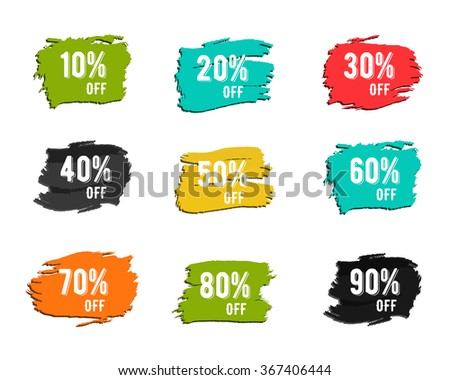 Christmas, new year, black friday, cyber monday or winter autumn sale percents. paint watercolor ink brush, splash. Colorful discount symbols. Discounts template. Percent sign - stock photo
