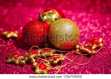 Christmas New Year decoration on glitter background