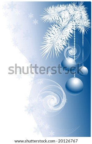 Christmas/New Year's concept in blue and white colores (illustration)
