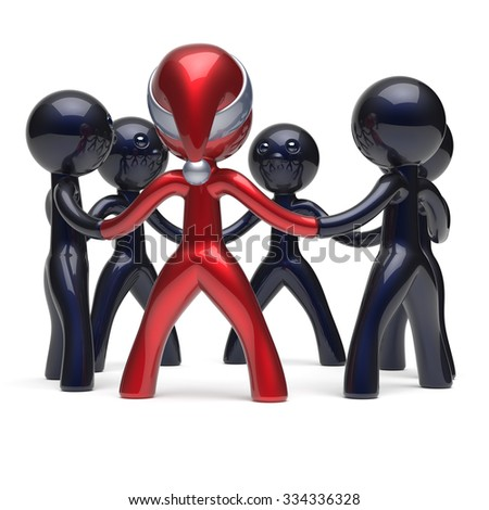 Christmas New Year's Eve teamwork leadership Santa hat man character leader stylized circle people social network party team six cartoon guys unity meeting individuality concept red white. 3d render - stock photo