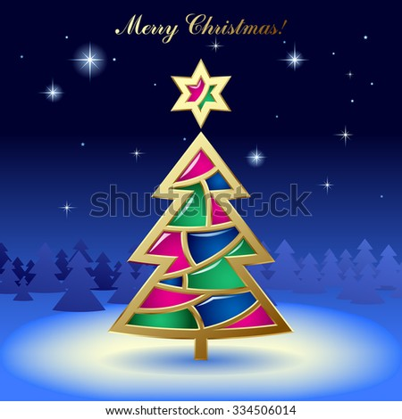 Christmas & New-Year's greeting card with a gold tree with stained glass on dark blue starry background - stock photo