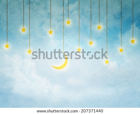 Christmas night background in vintage style - stock photo