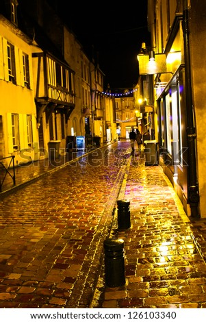 Christmas night in Bayeux. Normandy, France - stock photo
