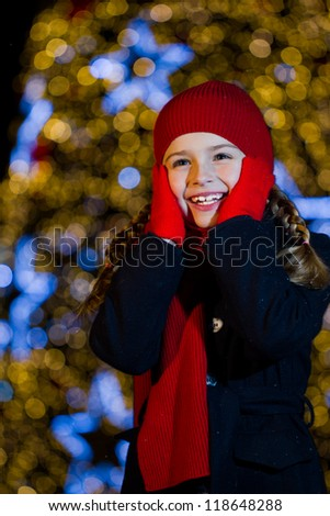 Christmas night, lovely girl is celebrating Christmas - stock photo