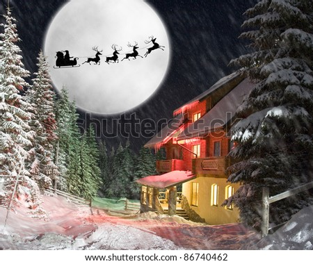 Christmas night. Santa and his reindeers riding against moon - stock photo