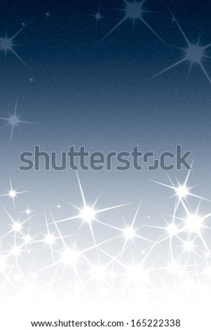 Christmas Night Sky Background with Stars Blue White Gradient - stock photo