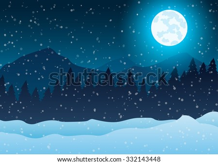 Christmas. Night winter landscape. Trees against a blue background of falling snow and moon.