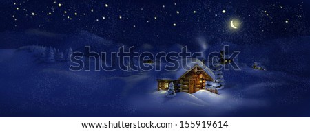 Christmas night, winter, scenic village panorama - wooden hut, lantern, snow, church, pine trees, Moon, stars. Copy space, illustration - stock photo