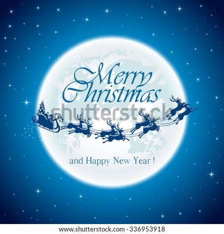 Christmas night with Santa on Moon background, illustration. - stock photo