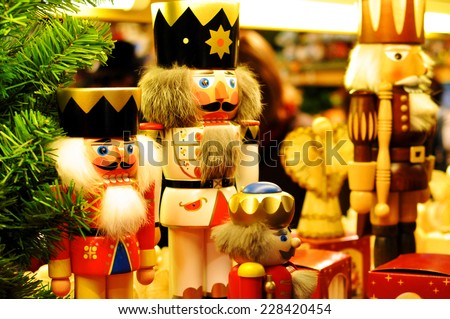 Christmas nutcracker king at a Christmas market in Italy, Merano - stock photo