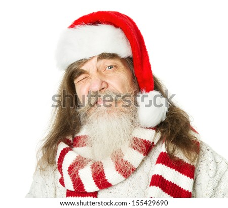 Christmas old man with beard in red hat, Santa Claus funny parody over white background - stock photo