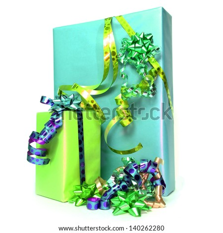 christmas or anniversary gifts on white background - stock photo