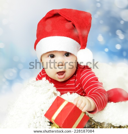 Christmas or Happy New Year infant and snowing background - stock photo
