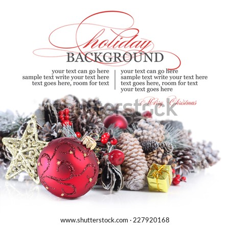 Christmas or holiday background with red ornament and garland - stock photo