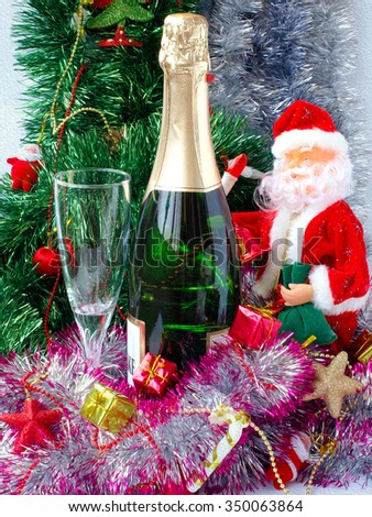 Christmas or New Year. Champagne and gifts on illustrated background - stock photo