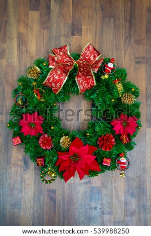 Christmas or New Year decoration background on the wooden background