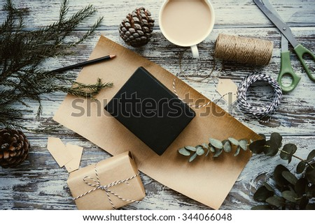 Christmas or New year gift packing. Holiday decor concept. Toned picture - stock photo