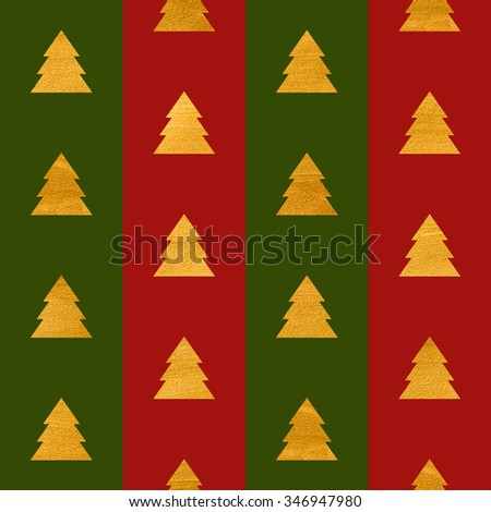 Christmas or New year seamless geometric gold textured pattern of stylized trees on green and red stripes. Design element for festive banner, card, invitation, postcard. Raster copy of vector file. - stock photo