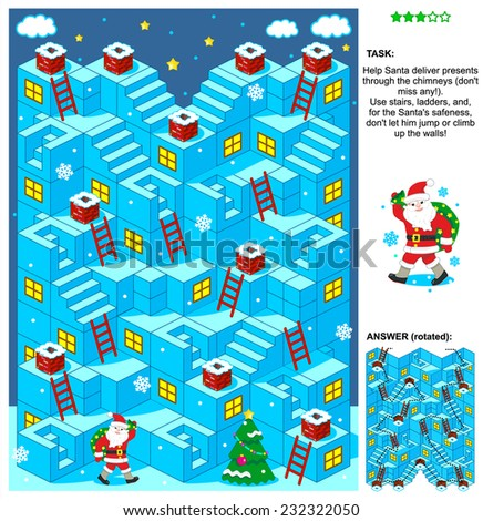 Christmas or New Year themed 3d maze game with stairs, ladders and Santa delivering presents through the chimneys. Answer included.  - stock photo