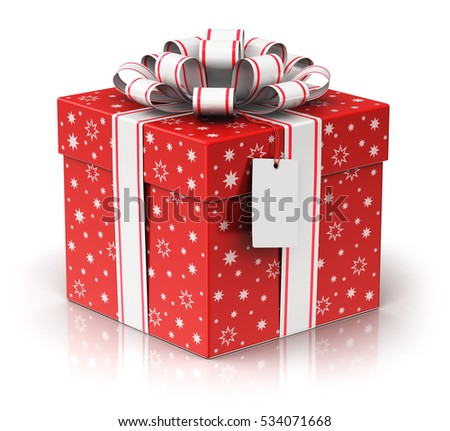 Christmas or Xmas, New Year or birthday tradition celebration concept: 3D render of red color gift or present box container with shiny colorful metallic ribbon bow and label tag isolated on white