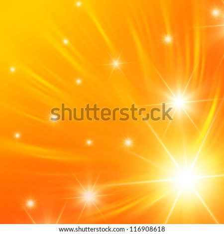 christmas orange background, abstract shining stars with white rays lights - stock photo