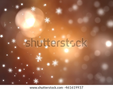 Christmas orange background with falling snowflakes.