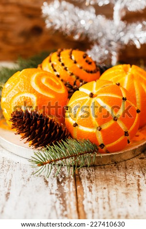 Christmas oranges - stock photo