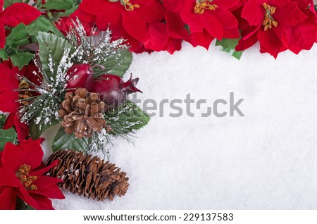 Christmas ornament and flower border on a snow background
