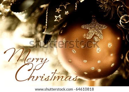 christmas ornament and text Merry christmas - stock photo
