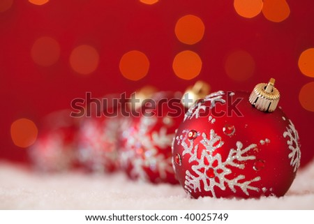 christmas ornament background (VERY SHALLOW DEPTH) - stock photo