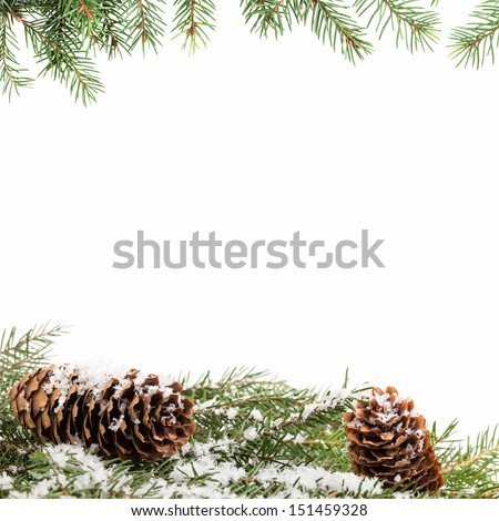 christmas ornament background with fir branches, white background - stock photo