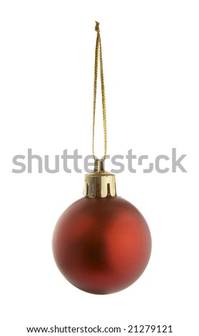 christmas ornament hanging  on white background with clipping path