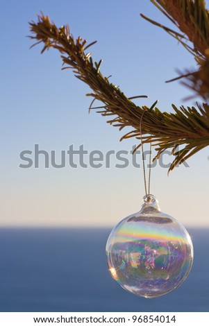 Christmas Ornament On A Tree In Front Of The Blue Sea - stock photo