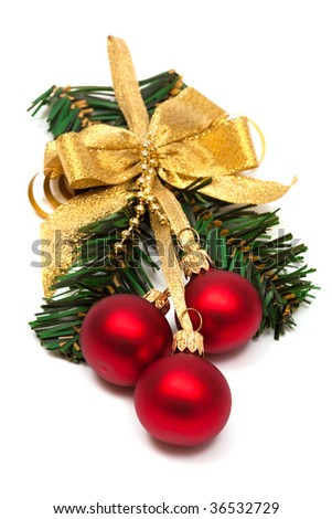 Christmas ornament with ball on a white background
