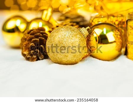 christmas ornament with bokeh light - stock photo