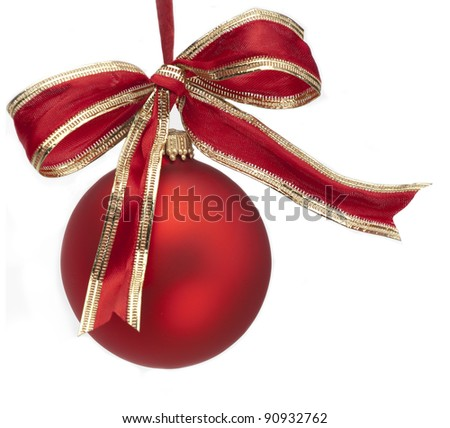 Christmas Ornament with Bow on White Background - stock photo
