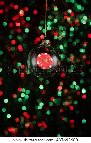 Christmas ornament with poker game element in red and green  - stock photo