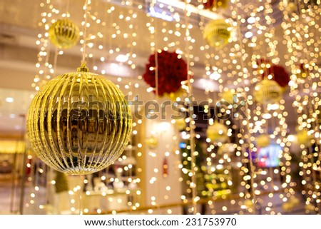 Christmas ornaments and decorations with shallow depth of field - stock photo