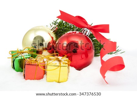 christmas ornaments are isolated on a white background - stock photo