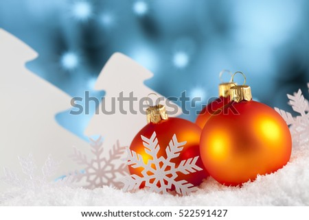 Christmas ornaments - baubles, trees and snowflakes